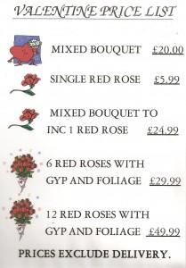 Valentine's Price List